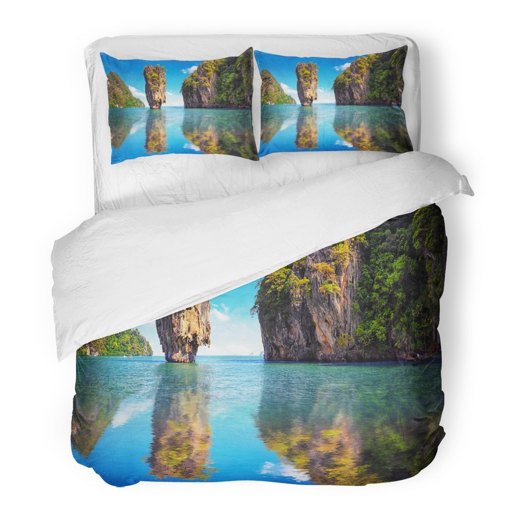 SanChic Duvet Cover Set Phuket Thailand Nature Asia Travel Photography James Bond Island in Phang NGA Bay Thai Scenic Exotic Decorative Bedding Set Pillow Sham Twin Size