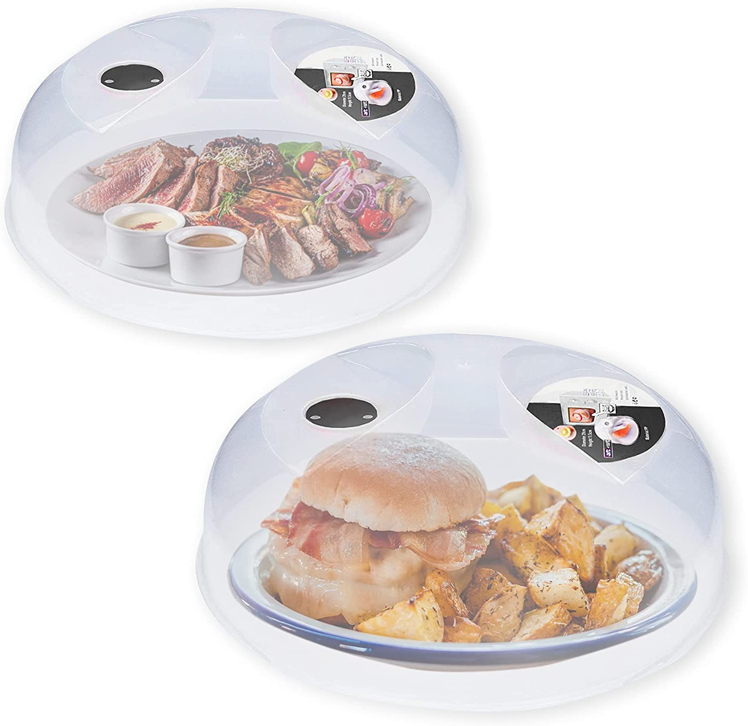 2 Pack Microwave Splatter Cover, Microwave Cover for Food, Plate Serving Covers, Microwave Plate Cover with Steam Vent, Guard Lid, Easy Grip, Dishwasher Safe & 11.5 Inch (Grey, Clear Cover)