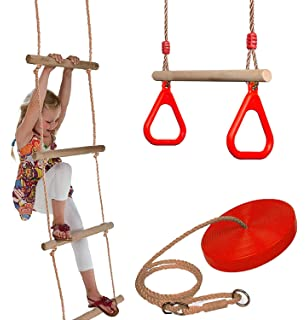 Wooden Trapeze Swing /& Red Plate Seat Swing Garden Toy Gamez Galore Set Of Rope Ladder