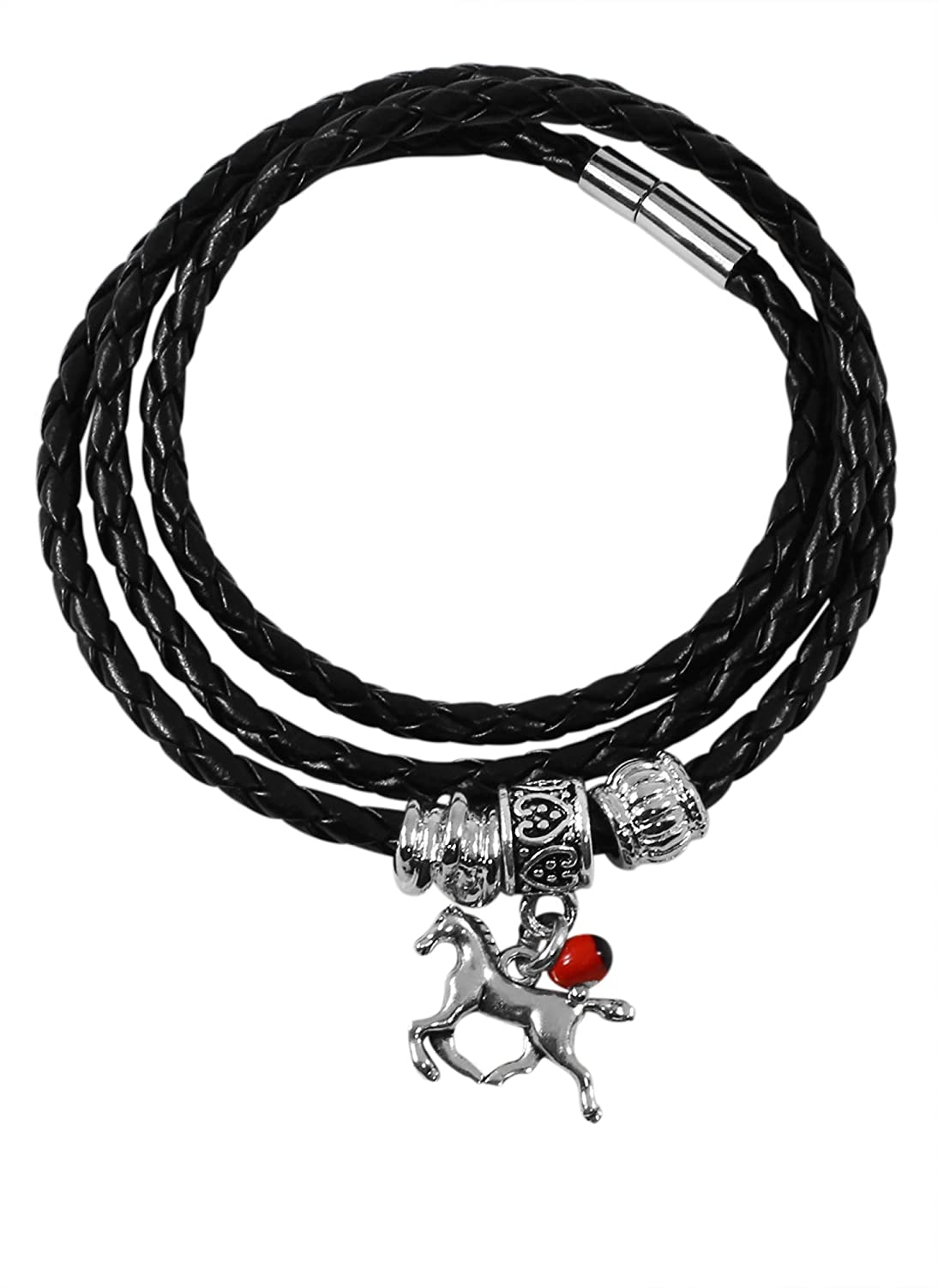 Peruvian Gift Bracelet for Women - Huayruro Red Seeds, Horse Charm - Handmade Jewelry by Evelyn Brooks