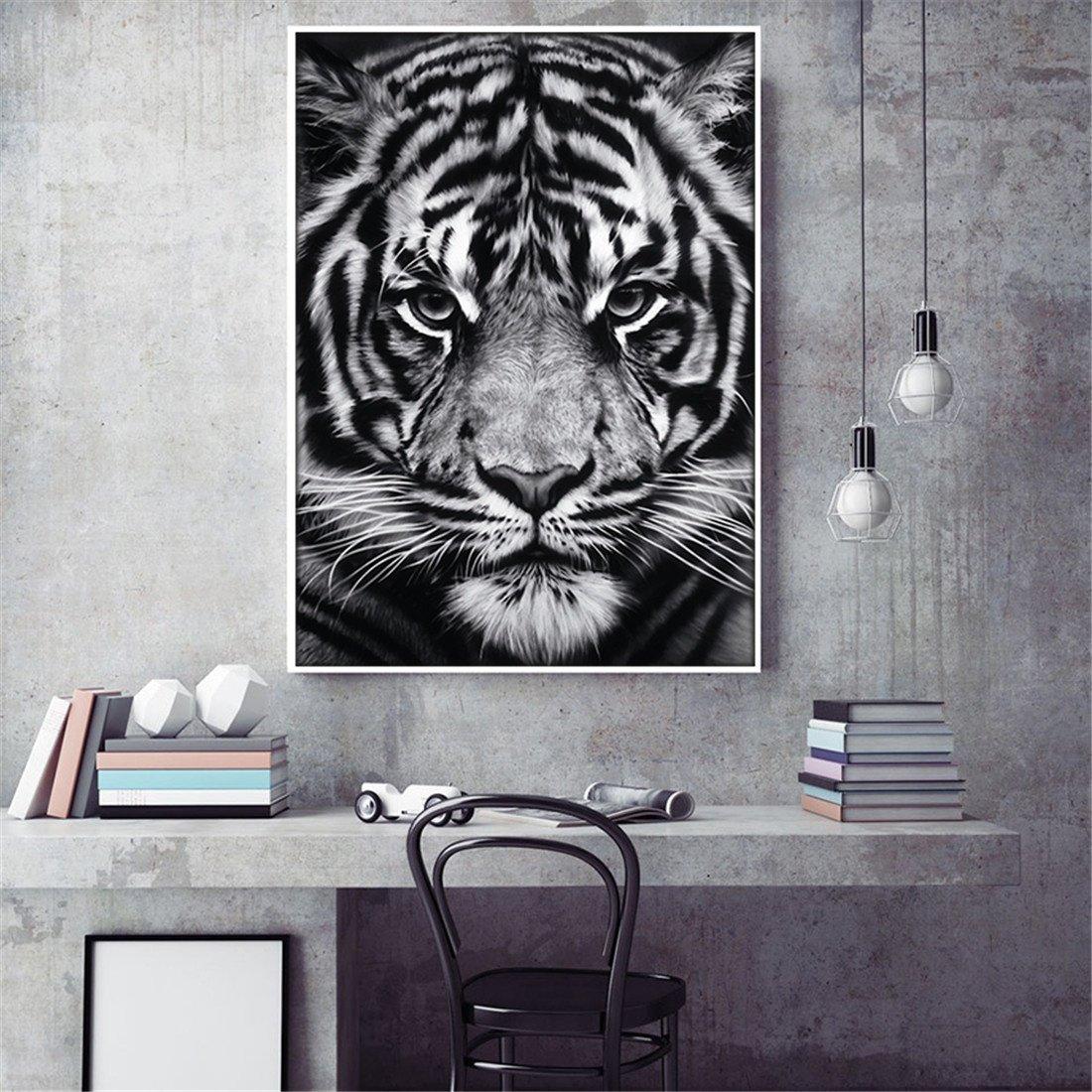 MIWENMural de Decoración Visual de la Tienda casera Moderna de Tiger Tiger en Blanco y Negro (50  70cm)