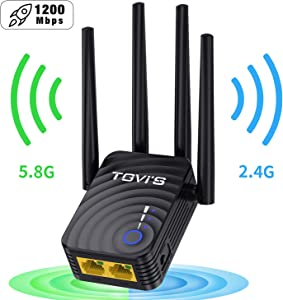 WiFi Range Extender 1200Mbps, WiFi Booster 2.4GHz + 5.8GHz, WiFi Repeater with Repeater/AP/Router Modes, WiFi Extenders Signal Booster for Home, 360 Degree Wireless Network Signal Coverage
