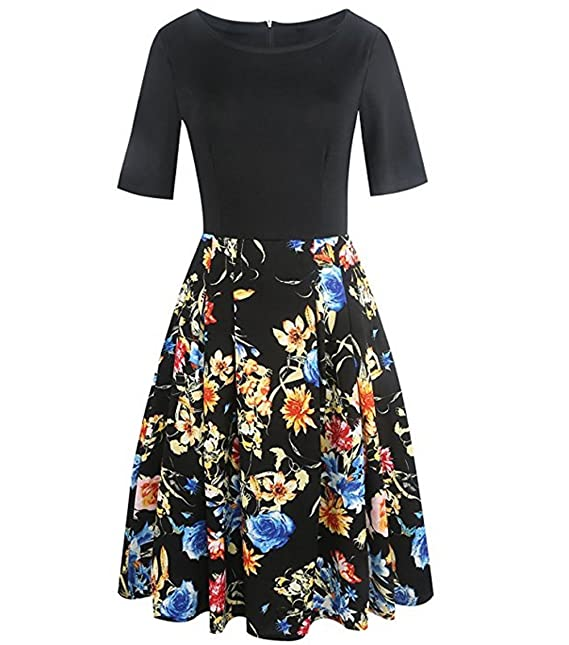 Women Patchwork Floral Midi Dress Swing Casual Party Dress CU0007 at Amazon Womens Clothing store: