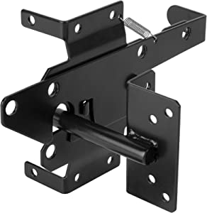 HILLMASTER Heavy Duty Self-Locking Gate Latch for Wooden Fence, Post Mount Automatic Gate Lock Gravity Door Latch Hardware for Secure Pool, Outdoor Garden, Metal Gates Vinyl Fence, Black Finish