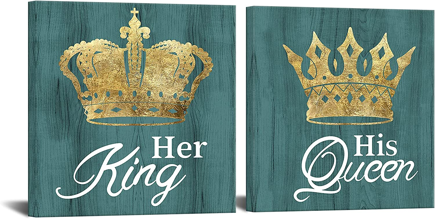 King Queen Canvas Wall Art His Queen Her King Romantic Gold Crown Painting Picture Prints Framed Artwork Bedroom Wall Decor