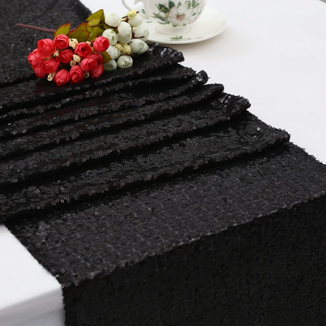 Black 12 x72  B-COOL 90 x156  Rectangle pink gold Sequin Tablecloth Tablecloths for Wedding Thanksgiving Tablecloth Sparkle Tablecloth