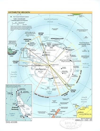 Vintage 2005 Map of Antarctic region. Antarctic Peninsula, Antarctic  Penninsula, Antarctica
