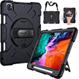 SUPFIVES iPad Pro 12.9 Case 2020 4th Generation - Apple Pencil Holder + Hand/ Shoulder Strap+ Rotatable Stand -Military Grade