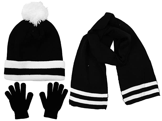 b9b9cb19950a4 S.W.A.K Kids Girls Knit Pompom Beanie Hat Scarf and Gloves Set One Size  Fits Most (See More Colors)