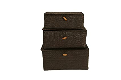 Charmant Wald Imports Brown Seagrass Decorative Storage Trunks/Chests, Set Of 3