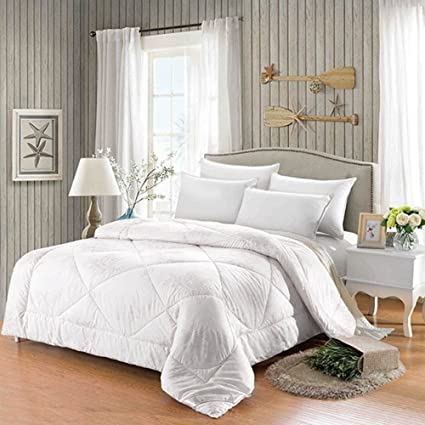 Alicemall XL Twin Size Comforter Duvet Insert White Hypoallergenic Stain  Cotton Printing Silky Hollow Fiber Filled