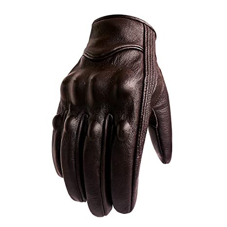 18ac7b3003053 Brown Leather Motorcycle Gloves Hard Knuckle Armored Touchscreen Motorcycle  Riding Gloves (M, Brown,