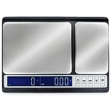 Smart Weigh Báscula de Cocina con Doble Plataforma con Pesa de Calibración de 200g, Báscula Pesa Gramos, Kilogramos, Mililitros, Onzas, Onzas Líquidas y ...
