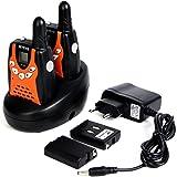 Retevis RT-602 Niños Walkie-talkies 0.5W 8 Canales UHF 446 MHz con Funciones de linterna Icorporado y Pantalla LCD (Negro y Naranja, 1 par)