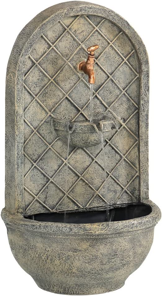 Sunnydaze Messina Solar Powered Outdoor Wall Mounted Water Fountain with Battery Backup, Pump and Panel - Patio Waterfall Feature - French Limestone - 26-Inch