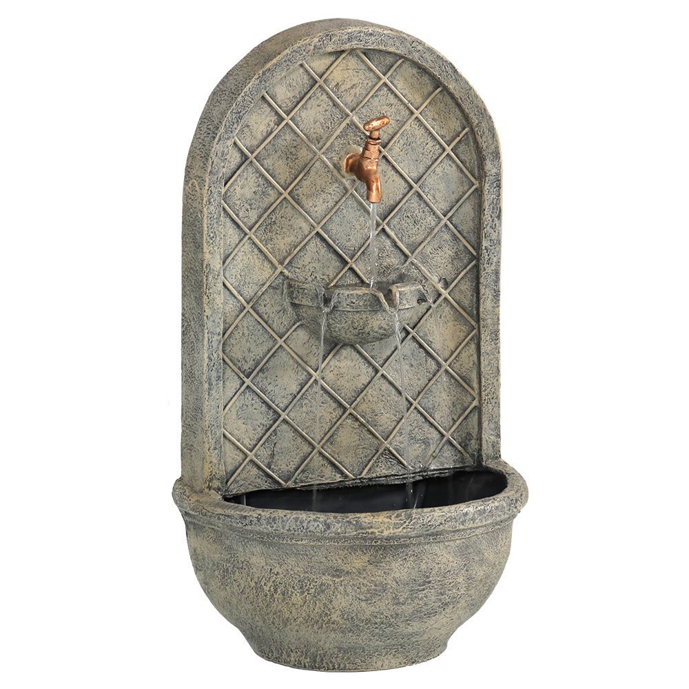 Sunnydaze Messina Solar Wall Fountain, 26 Inch, French Limestone by Sunnydaze Decor