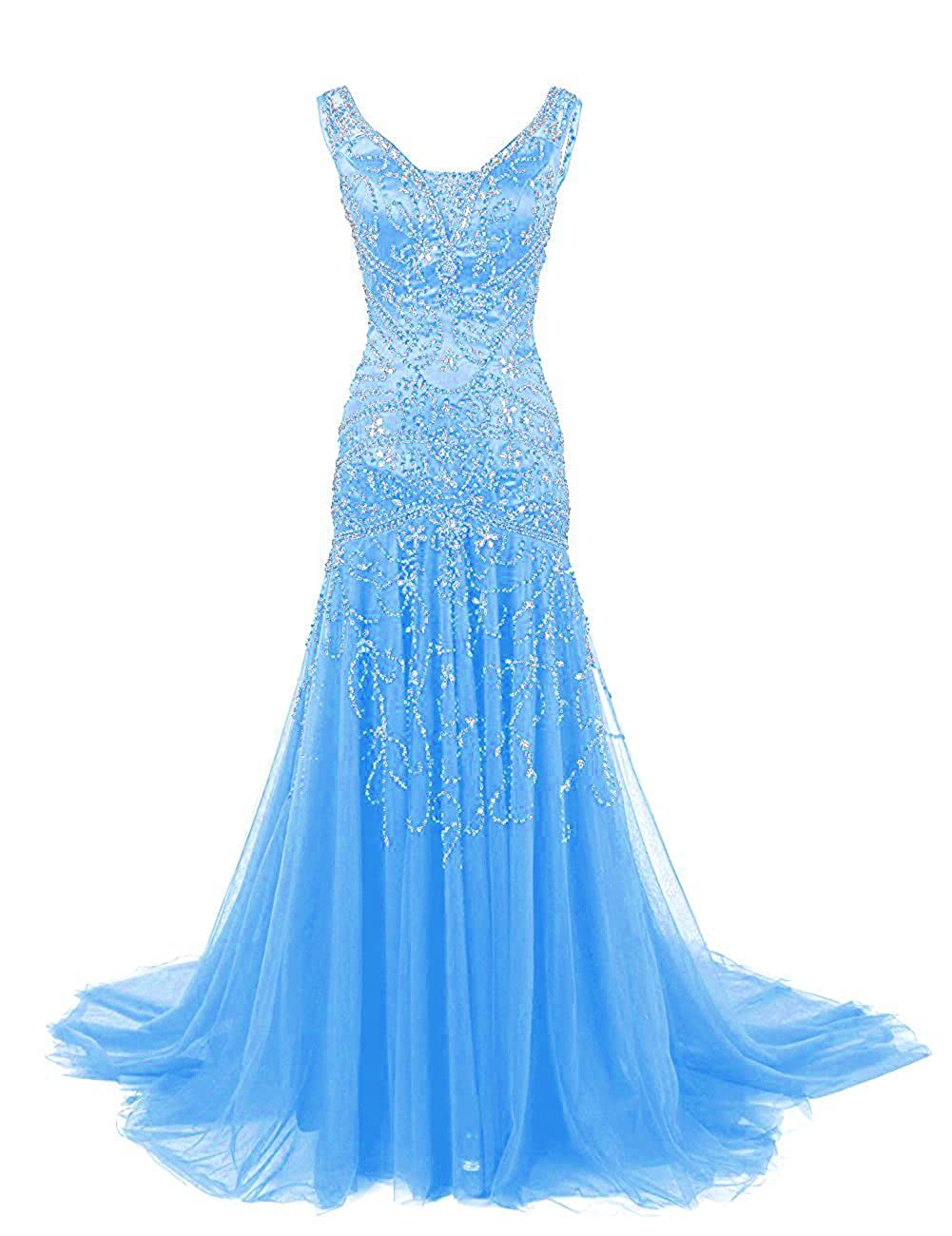 bluee Ellenhouse Women's Long Mermaid Mother of Bride Dress Beaded Prom Ball Gowns