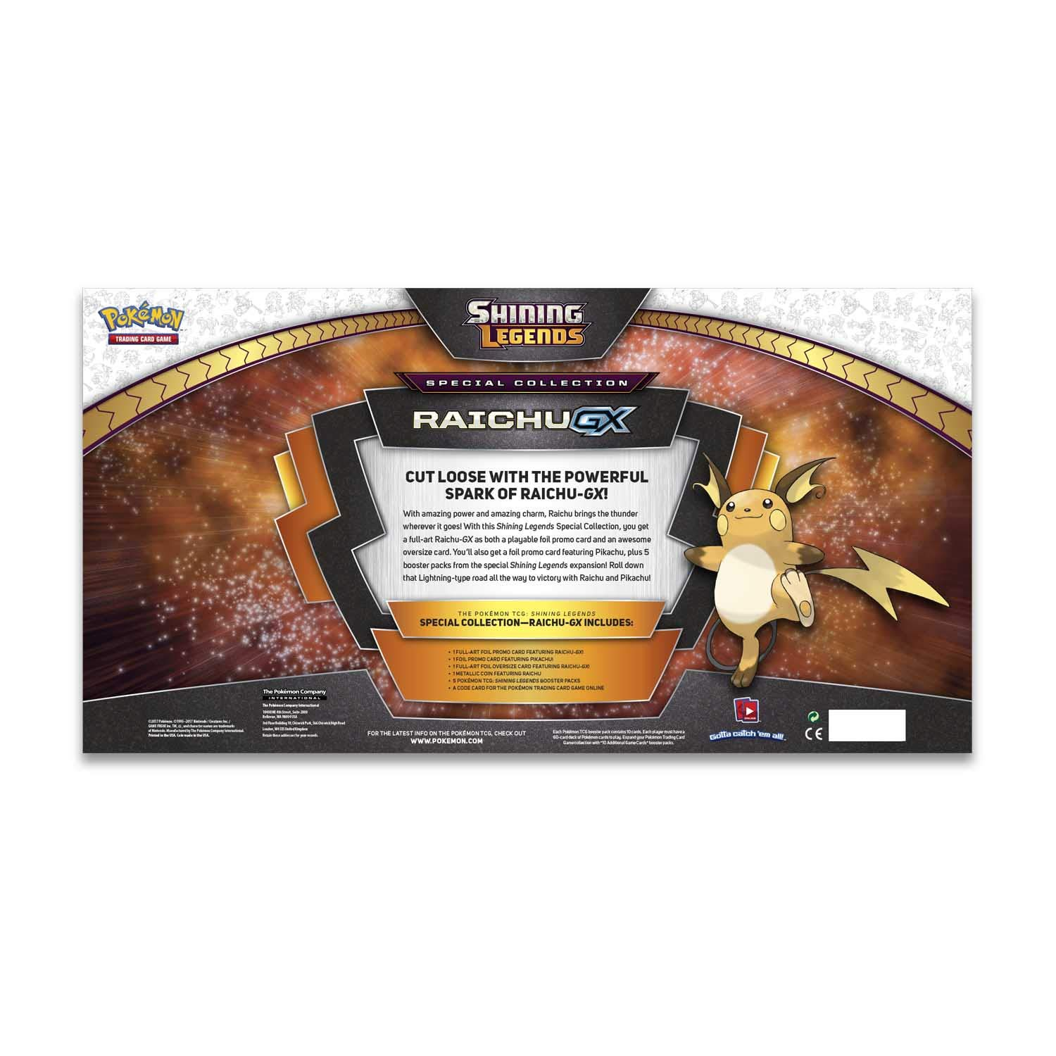 Pokemon TCG: Shining Legends Special Collection Box Trading Card Set, 5 Booster Packs, 1 Rare Foil Raichu-GX Card, 1 Foil Pikachu Promo Card, 1 ...