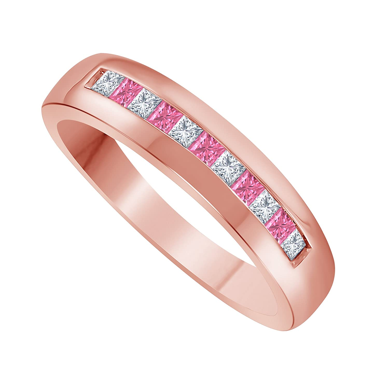 Jewelryhub Men\'s Jewelry 14K Rose Gold Plating 0.50ct Princess Cut ...