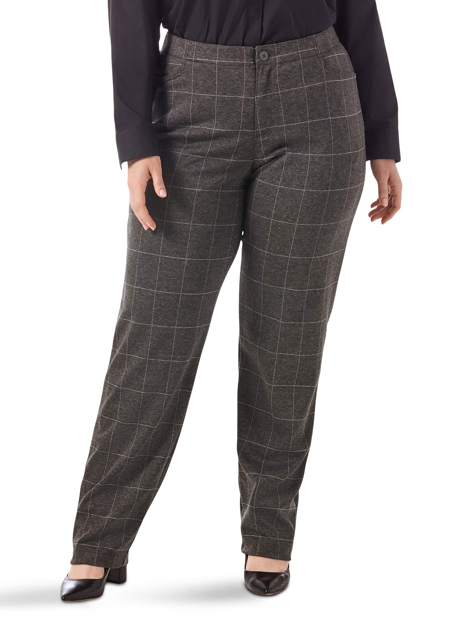 Riders by Lee Indigo Women's Plus Size Comfort Collection Knit L Pocket Pant, Grey/white windowpane, 18W Petite by Riders by Lee Indigo