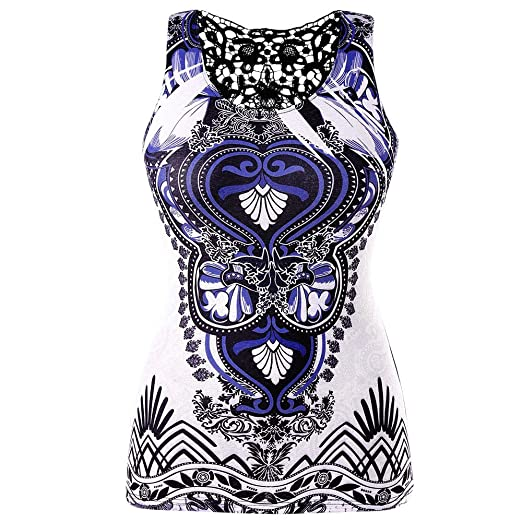 e50b15dab0cd17 ZOMUSAR Women s Plus Size Tribal Print O-Neck Back Lace Casual Tunic Tank  Top Sleeveless Shirt Black at Amazon Women s Clothing store