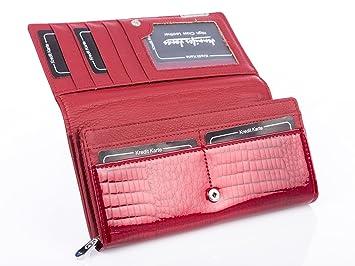 Damen Brieftasche Portemonnaie Geldbörse Lack Portmonee echtes Leder ~ Rot Kroko