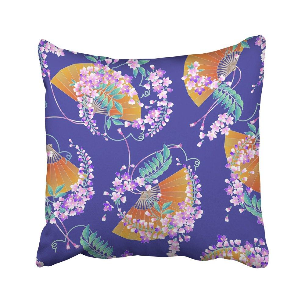 Emvency 装飾用クッションカバー 芸術的 和風 藤の花模様 美しい花の変形 エレガント 花柄 16 x 16インチ 枕カバー カバー クッション 両面   B07GCJCVTG