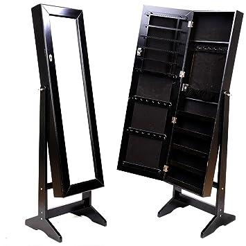Amazoncom Mirrored Jewelry Cabinet Amoire Black Wstand Mirror