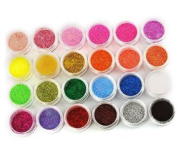 24 COLOURS NAIL ART Glitter Dust Powder UV Nail Gel Acrylic Nail Decoration W400 by Micro