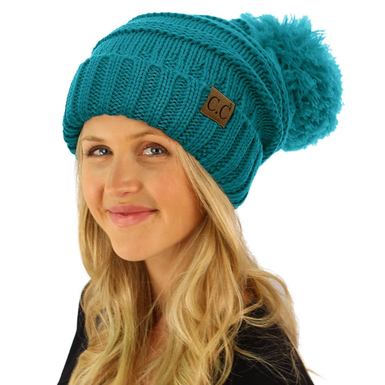 d2c4ebb8db10f ... CC Oversized Super Big Slouchy Pom Pom Warm Chunky Stretchy Knit Beanie  Hat SK Hat Shop ...