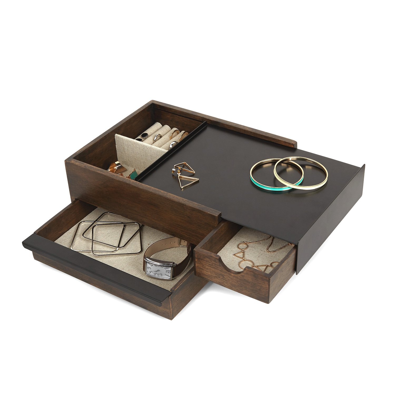 Umbra Stowit Jewelry Box - Modern Keepsake Storage Organizer with Hidden Compartment Drawers for Ring, Bracelet, Watch, Necklace, Earrings, and Accessories (Black/Walnut)