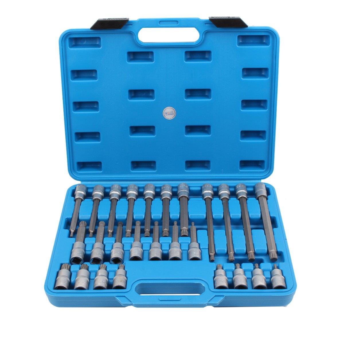 CCLIFE Juego de puntas de vaso | entrada 12, 5 mm (1/2') | dentado mú ltiple interior (para XZN) | 26 piezas 5 mm (1/2' ) | dentado múltiple interior (para XZN) | 26 piezas