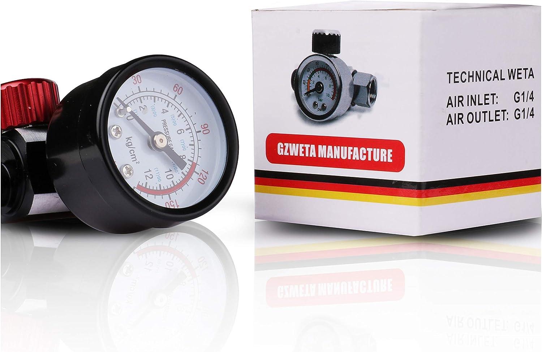 Druckregler Für Druckluftkompressor Mit Displaytisch Passend Für Spritzpistole Lufteinlass G1 4 Luftauslass G1 4 Auto