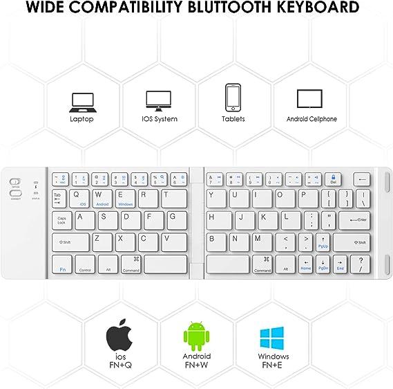 Teclado Bluetooth Plegable, Teclado Plegable Ultra Delgado IKOS BT para iPhone X 8 7 6S 6 Plus/Pro/Air, Smartphones/Tabletas Android de Samsung y ...
