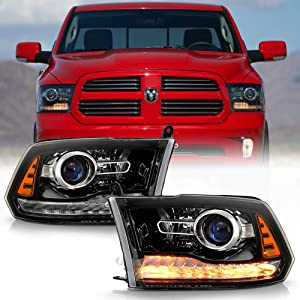 ACANII - For 2013-2018 Dodge Ram 1500 2500 3500 Black Housing Projector Headlights Headlamps Assembly Driver & Passenger