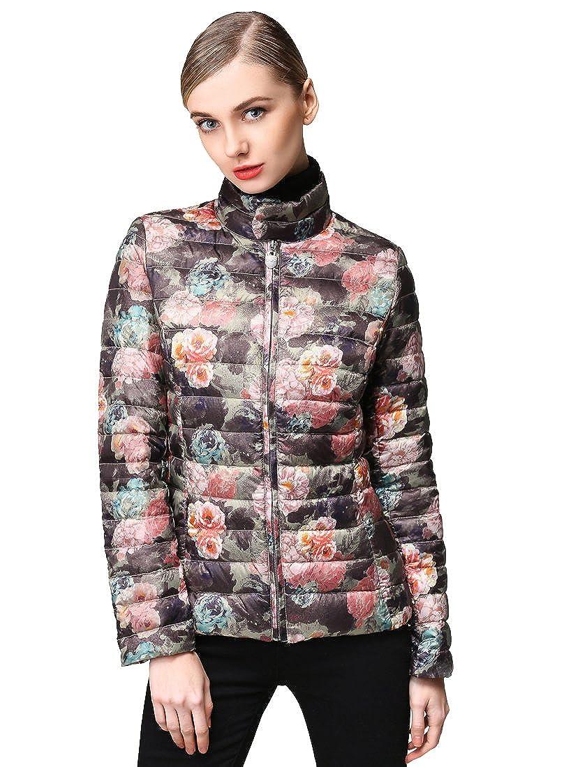 Hoffen Women's Floral Print Lightweight Down Puffer Jackets