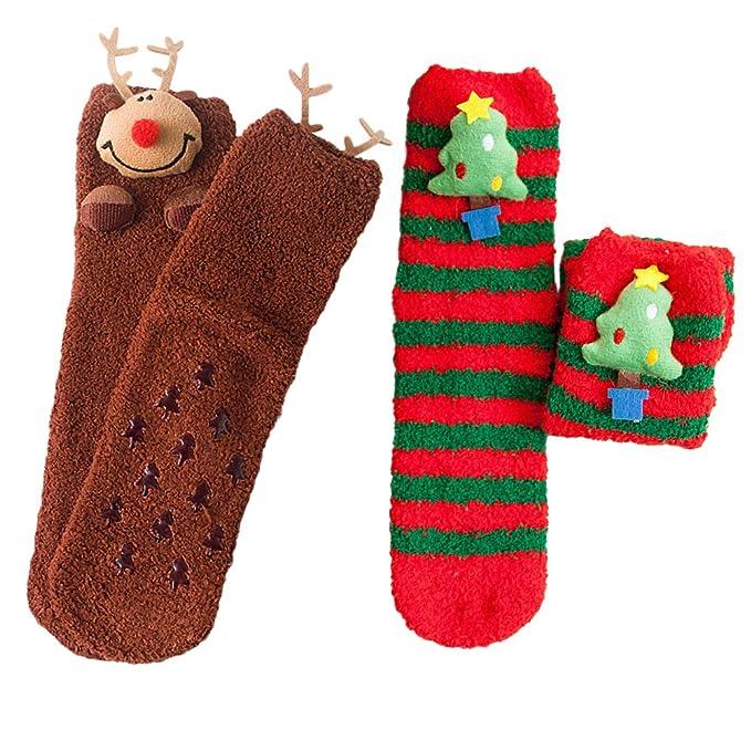 Calcetines de Navidad, Feicuan Adultos Niños Xmas Pattern Coral Fleece Family Fuzzy Socks Hosiery Pack de 2 pares: Amazon.es: Ropa y accesorios