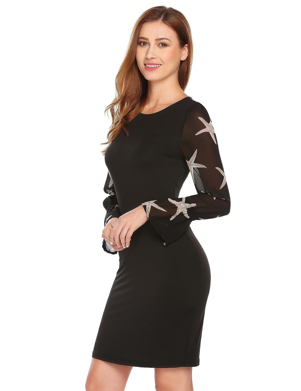Chigant Damen Kleid Etuikleider Business Langarm Patchwork Bodycon ...