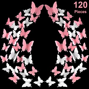 120 Pieces 3D Butterfly Wall Stickers 3 Sizes Pink White Removable Butterfly Mural Decals for Baby Kids Room Wedding Home Fridge DIY Art Decor