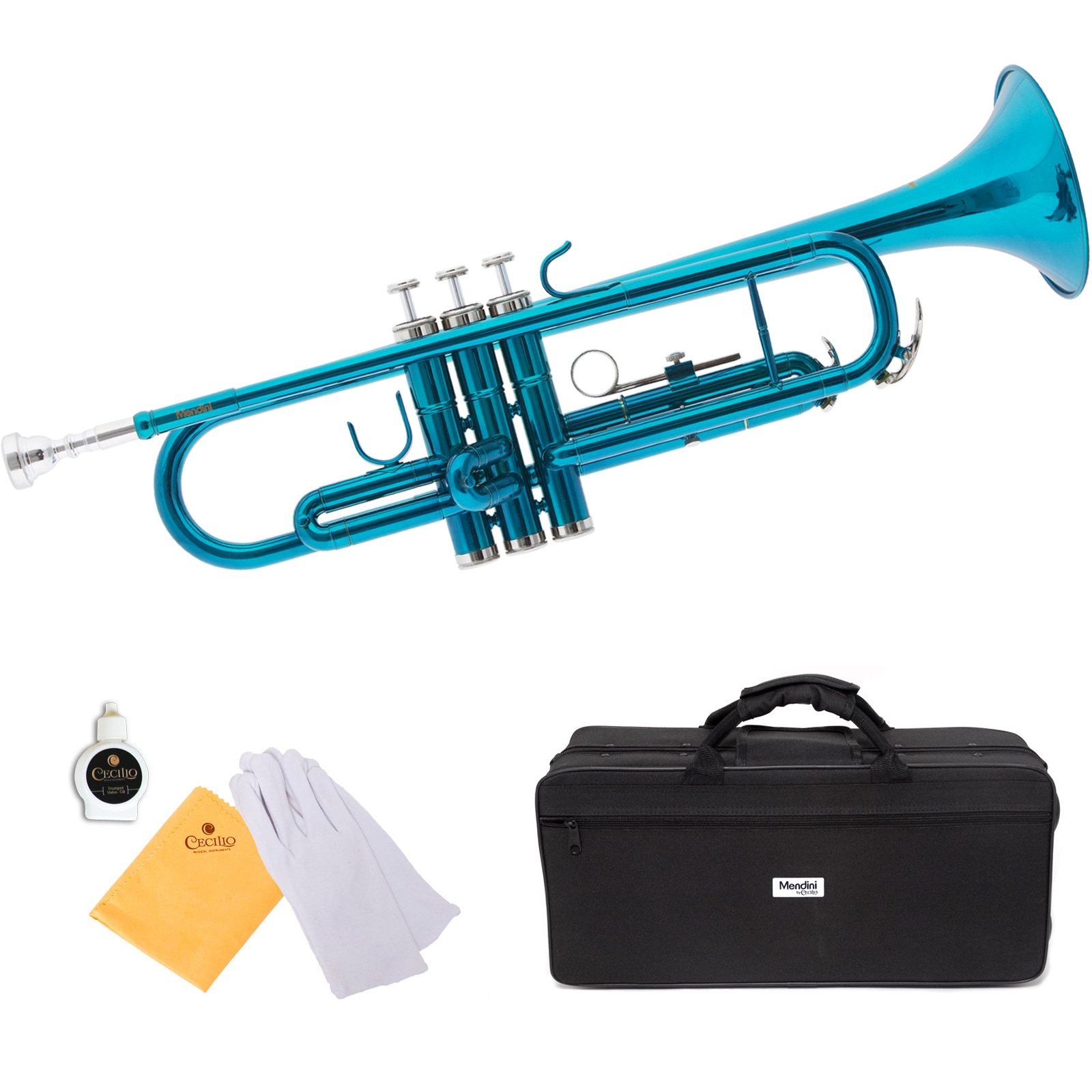 Mendini Sky Blue Lacquer Brass Bb Trumpet - MTT-SB