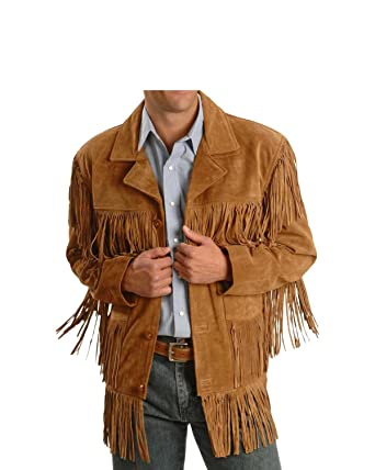 3dcd25224d67 Men Western Fringe Jackets Men Brown Fringe Jacket Men Cow BOY Suede Jacket  (S)