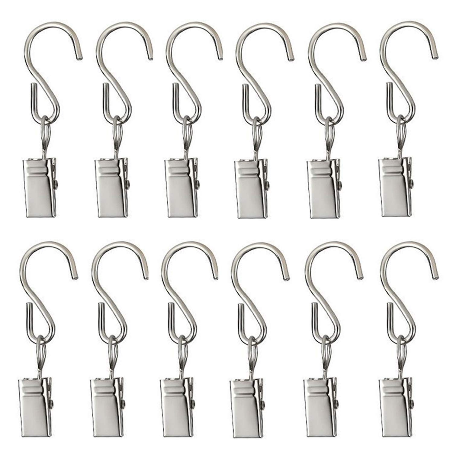 50PCS Curtain Clips with Hooks for Hanging Clamp Hangers Gutter Hooks for Party String Light Outdoor Wire Holders, Stainless Steel Silver