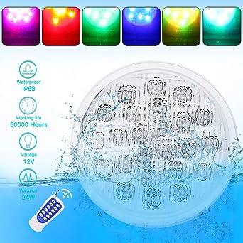 MUMENG - Lámpara de piscina con luz LED de 24 W, PAR56 para ...