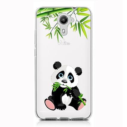 Funda Wiko U Feel Prime Panda comiendo bambú Mariposas Suave ...