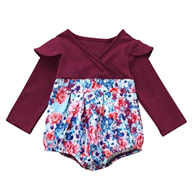 5c01a6b63c6f iumei Infant Baby Girl Fall Clothes Long Sleeve Floral Romper Jumpsuit  Sunsuit Outfits (0-