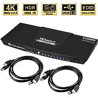 TESmart KVM Switch HDMI 4k 60hz HDMI Switcher 4 Port HDMI Switch Box with IR Remote Keyboard Mouse Switch with 2 HDMI Cables USB 2.0 Support HDMI 18Gbps for Laptop,PS4,Xbox(Black)
