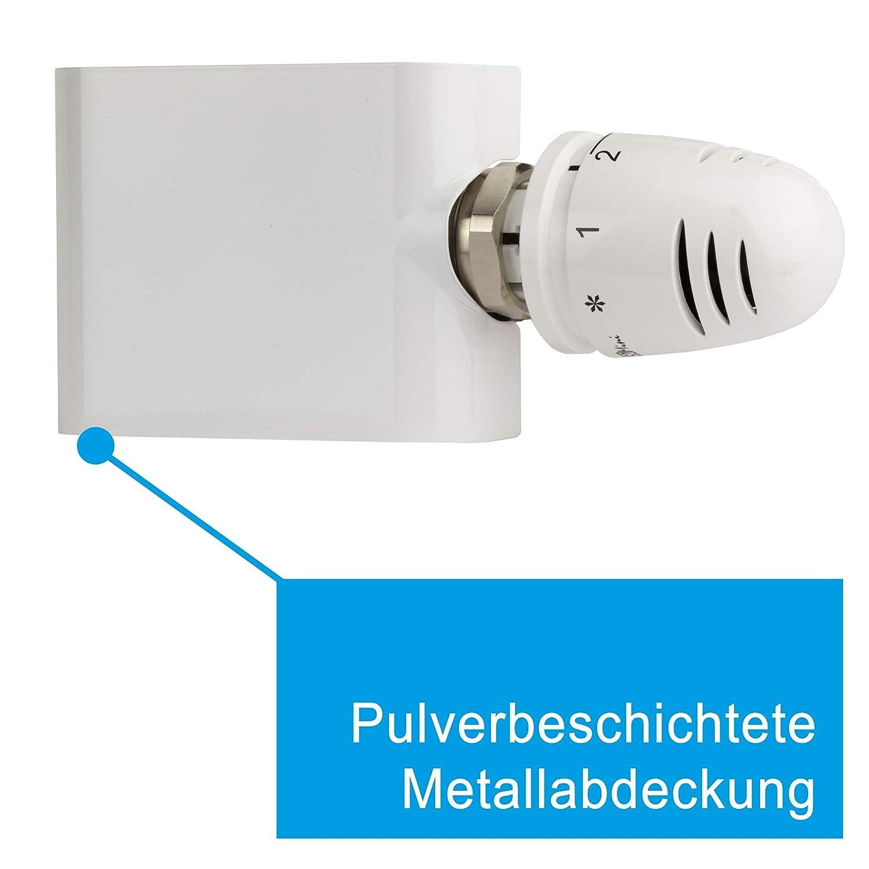 , Wei/ß Rohre aus der Wand SHV Ventil-Armaturen Set Multiblock Universal f/ür Heizk/örper mit Mittelanschluss inkl Eck Thermostatkopf
