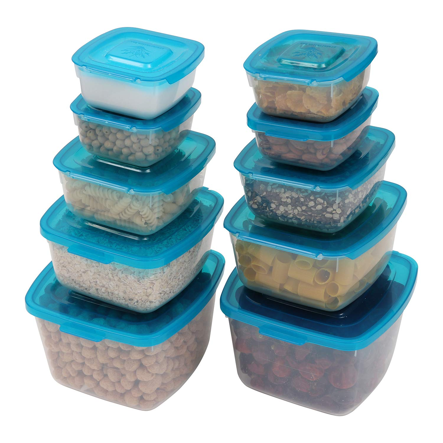 Kurtzy Food Storage Containers/Plastic Kitchen Storage Containers 10 Pack – Airtight Transparent Hinged Kitchen Storage Organizers for easy storage of Vegetable, Dry Food, Cereal, Grain Rice & More HA-JT-106X2