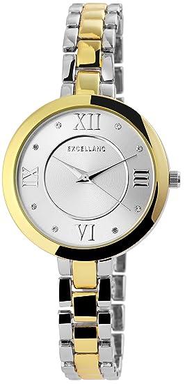 Mujer Reloj De Plata Números Romanos Oro Analog brillantes metal Reloj de pulsera: Amazon.es: Relojes