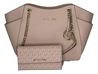 5cabe678f27 Amazon.com  MICHAEL Michael Kors Jet Set Travel Large Chain Shoulder Tote  bundled with Michael Kors Jet Set Travel Trifold Wallet (Ballet Signature MK  ...